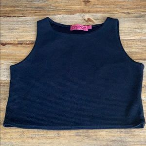 Textured black crop top, smooth on inside.
